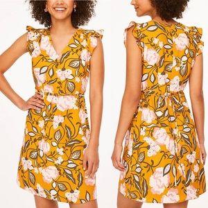 LOFT Gold Dreamy Vine Flutter-Sleeve A-Line Dress